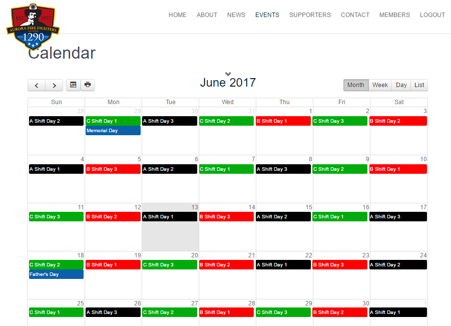 New Publicly View-able Shift Calendar!!!